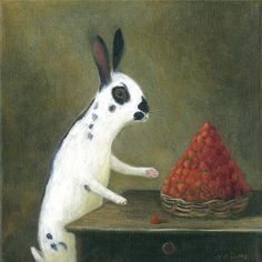 Fine Art Print of an Original Animal Painting: Il Ladro di Fragola (After Jean-Baptiste Chardins, Basket with Wild Strawberries, c.1761  This is a Fine Art Print of an Original Animal Painting: Il Ladro di Fragola (After Jean-Baptiste Chardins, Basket with Wild Strawberries, c.1761