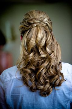 Beautiful hair, half up do with poof and braid. I rarely like braids, love this one!