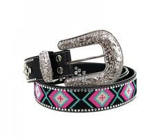 Aztec Inspired Leather Belt.  With the look of Beading, but will not come off,  This Aztec Belt is embroidered.   The Belt base is all Leather,  with a silver colored Buckle,  Comes in 4 sizes, Small (32), Medium (36), Large (40), and XL (42).  These are on of the best built belts and beautiful a...