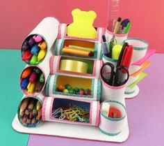 MINI ORGANIZER mit Rollen Toilettenpapier oder Küche – Fotoliste Diy Paper Crafts diy crafts out of toilet paper rolls Kids Crafts, Cute Crafts, Crafts For Teens, Easy Crafts, Diy And Crafts, Craft Projects, Kids Diy, Preschool Crafts, Pot A Crayon