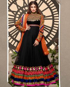 USD 61.17 Black Georgette Floor Length Anarkali Suit 55764