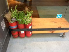 Industrial style seating made from, repurposed, recycled materials, fire extinguisher, San Francisco, CA - JM