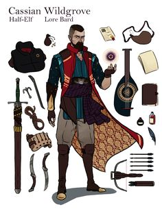 Cassian Wildgrove is a Half-Elf Lore Bard 01 Fantasy Character Design, Character Creation, Character Drawing, Character Design Inspiration, Character Concept, Dungeons And Dragons Characters, Dnd Characters, Fantasy Characters, Larp