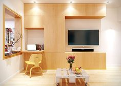 Modern Tiny Apartment Design Ideas with Sophisticated TV Unit and Fascinating Desk Tiny Living Rooms, Small Space Living, Small Spaces, Tiny Apartments, Home Theater Design, Contemporary Home Decor, Design Moderne, Apartment Design, House Design
