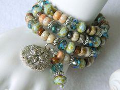 Boho Memory Wire/Gemstone Bracelet/Sand by Seyshelles on Etsy