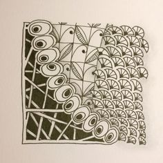 My own zentangle 4-10-15   Did this for the Diva Challenge #212, using the tangle Fanz on the right side.  I also used Telis (middle) and Hollibaugh (bottom left),and the middle row of olives I can't think of right now, but I love it.  Shaded with a #2 pencil.