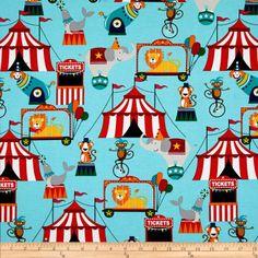 Michael Miller Circus Tickets Aqua - Discount Designer Fabric - Fabric.com