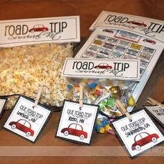 Road Trip Survival Kit:  Print out this fun kit to help pass the time on your next roadie.  It includes a questionnaire, a license plate check list (see if you can get all 50 states), a roadtrip countdown with markers you can take down as you pass each milestone, treatbag toppers, and more.