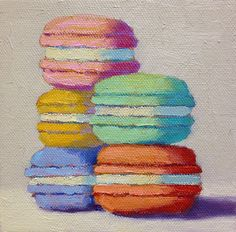 """Five Macarons by Pat Doherty Oil ~ 5"""" x 5"""""""
