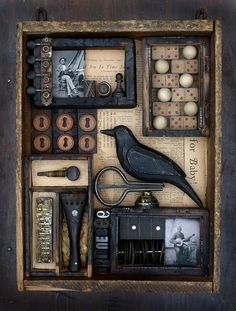 The Blue Black Bird by Dwayne FreemanYou can find Found object art and more on our website.The Blue Black Bird by Dwayne Freeman Shadow Box Kunst, Shadow Box Art, Found Object Art, Found Art, Art Altéré, Assemblage Art, Recycled Art, Mixed Media Canvas, Altered Art