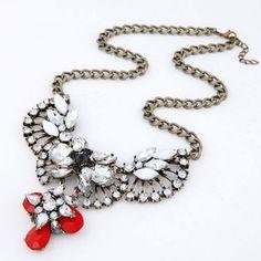 Rhinestone Inlaid Fan Shape Combo Design Short Necklace - Red