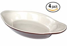 Ceramic Oval Rarebit  Au Gratin Baking Dish with Dishpan Scraper 15 Ounce Set of 4 Brown and Bone White -- Be sure to check out this awesome product.
