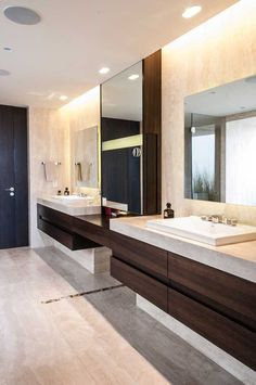 5 Bathroom Mirror Ideas For A Double Vanity // Square mirrors add a geometric look to the bathroom and give each person their own space.