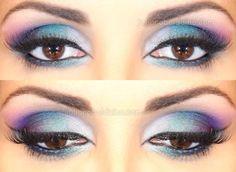 maquiagem azul turquesa e roxo