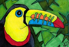 "Projet à faire : aquarelle? crayon de bois? Aceo Original ""TOUCAN"" pencil/ink ON EBAY"