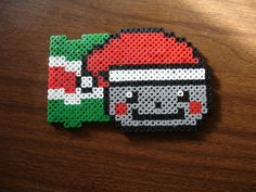 Christmas Nyan Cat Head perler beads by Tazzcrazzy on deviantart