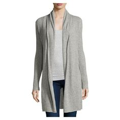 Neiman Marcus Cashmere Open Front Long Cardigan, Heather Gray ($245) ❤ liked on Polyvore featuring tops, cardigans, long sleeve cardigan, open front tops, heather gray cardigan, long sleeve tops and long open front cardigan
