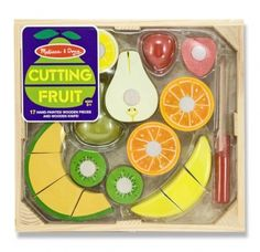 Melissa & Doug Cutting Food - Play Food Set With Hand-Painted Wooden Pieces, Knife, and Cutting Board With Cutting Fruit Set - Wooden Play Food Kitchen Accessory Baby Toys, Kids Toys, Wooden Play Food, Wooden Playset, Play Food Set, Melissa & Doug, Learning Toys, Learning Resources, Toy Store