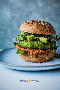 Pinterest | | @AdelineLeeuw The ultimate vegan green burger! A nutritious recipe for mega tasty veggie/vegan burger, full of green goodness, fresh herby flavours and 20 gr of protein!
