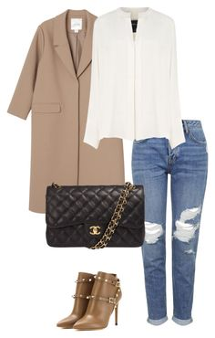"""Featuring camel coat"" by klara-gizova on Polyvore featuring Monki, Topshop, Derek Lam, Valentino, Chanel, women's clothing, women's fashion, women, female and woman"