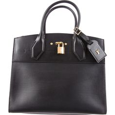 Louis Vuitton City Steamer MM ($2,850) ❤ liked on Polyvore featuring bags, handbags, black, man bag, handbags purses, real leather purses, genuine leather purse and leather pocket purse