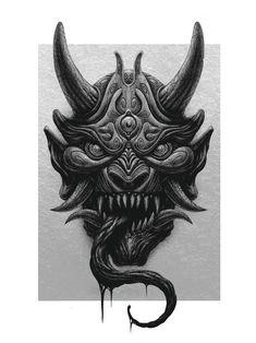 Hannya by Hugo Barbier Japanese Demon Tattoo, Japanese Demon Mask, Japanese Tattoo Symbols, Japanese Dragon Tattoos, Samurai Mask Tattoo, Hannya Mask Tattoo, Hanya Tattoo, Oni Maske, Japan Tattoo Design