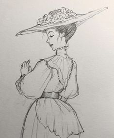 A fancy Edwardian lady 🌹 dunno if it's the most historically accurate thing ever but I like it 😅 Cool Sketches, Cool Art Drawings, Pencil Art Drawings, Art Drawings Sketches, Easy Drawings, Cartoon Kunst, Cartoon Art, Pretty Art, Cute Art