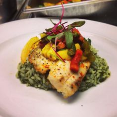 Seared tilapia over cilantro rice & yellow, green, & red tomatoes with spinach, topped with a mango salsa.