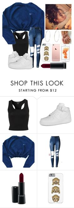 """Untitled #14"" by catieswardrobe ❤ liked on Polyvore featuring Topshop, NIKE, MAC Cosmetics, River Island, women's clothing, women, female, woman, misses and juniors"