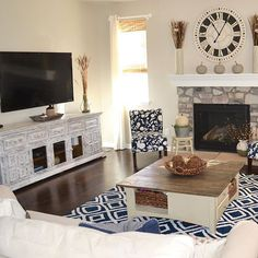 This photo from @bluedoorandburlap was selected as a runner up in our #AFWatHome photo contest. We love seeing our Isabella TV Console and Camille Navy Rug in this gorgeous room!