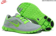 Buy Latest Listing Womens Nike Free Run 3 Wolf Grey Electric Green Shoes The Most Flexible Running Shoes