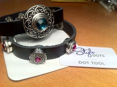 Leather bracelets by Style Dots Interchangeable jewelry - match your outfit with the changeable dots  #styledots #dots