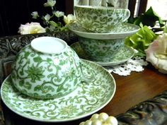 3 Unmarked Chintz Japanese Tea Cup Teacups and Saucers -