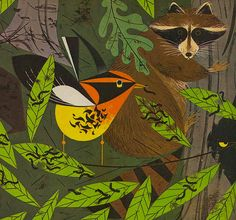 Illustration by Charley Harper for 'Les Merveilles de la Vie', c. 1961 with a foreword by Jean Rostand, Académie Française Charley Harper, Jean Rostand, Woodland Creatures, Children's Book Illustration, Digital Illustration, Wildlife Art, Art Lessons, Street Art, Drawings