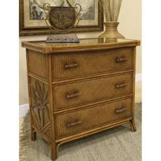 Check out the Hospitality Rattan 401-5310-TCA Cancun Palm 3 Drawers Chest in TC Antique with Glass priced at $714.00 at Homeclick.com.