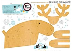 Free PDF for template to make a cute Christmas reindeer.  christmas card countdown 1 | 101 Woonideeën