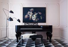 Elegant, graphic, grey, black and white floor