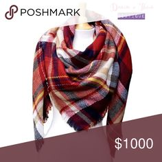"""🌟Plaid Square Blanket Scarf Red/Multi🌟 🌟BRAND NEW🌟  Very soft and cozy Plaid square blanket scarf. Perfect addition to your fall & winter outfit! Dimension approximately 55""""x55"""".   Color: Red/Multi Fabric: Acrylic  💟PRICE is FIRM 💟10% OFF BUNDLE 💟NO Trades Davin+Theia Accessories Scarves & Wraps"""