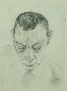 Yury Annenkov (Russian, 1889-1947) - Portrait of Rachmaninoff (Sergei)  pencil drawing
