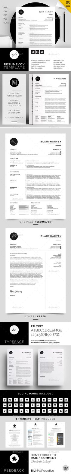 Resume/CV & Cover letter template. Includes 90 social icons. Minimalist design.  MS Word - Photoshop - inDesign