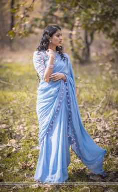 Looking for stylish blouse designs for sarees? Here are chic blouse models with fancy neck and sleeve designs that you can wear with any saree. Blouse Back Neck Designs, Saree Blouse Designs, Blouse Patterns, Chiffon Saree, Silk Chiffon, Crepe Saree, Sky Blue Saree, Yellow Saree, Silk Dress Design