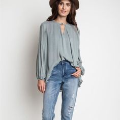 """""""Sage"""" Long Sleeve Keyhole Top Long sleeve top with a front key hole. Brand new. True to size. NO TRADES. Bare Anthology Tops Blouses"""