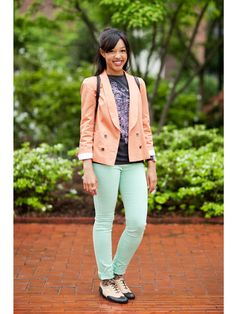love the pastel blazer and jeans.