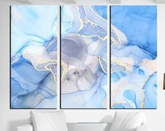 Large Canvas Prints Modern Wall Art for Home & by WALLARTSDECOR Abstract Photos, Blue Abstract, Abstract Canvas, Modern Wall Art, Large Wall Art, Large Canvas Prints, Marble Art, Photo Canvas, Ink Art