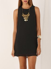 black dresses, shift dresses, little black dress, crew neck dress - Lyfie