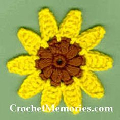 "Summer always makes me think of sunflowers and this cute little crochet sunflower fridgie is the best way to say; ""summer!""  Dainty puff stitches are used for the center that gives way to pretty y...FREE"