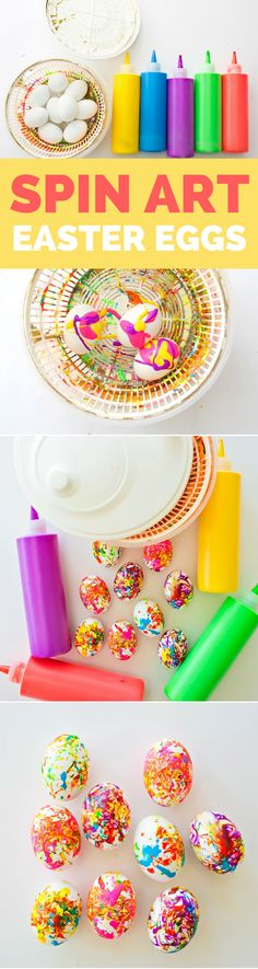 Spin Art Easter Eggs. Fun Easter process art for kids. Make beautiful, paint-speckled, marbled eggs!