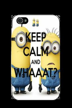Iphone 4 4s 5 5s Keep Calm Minions Whaat! Novelty Funny Black Plastic Case