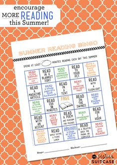 My Sister's Suitcase: Summer Reading #Printable Bingo Card