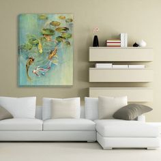 Portfolio Canvas Decor  'Koi at Play' Large Framed Printed Canvas Wall Art   Overstock.com Shopping - The Best Deals on Canvas